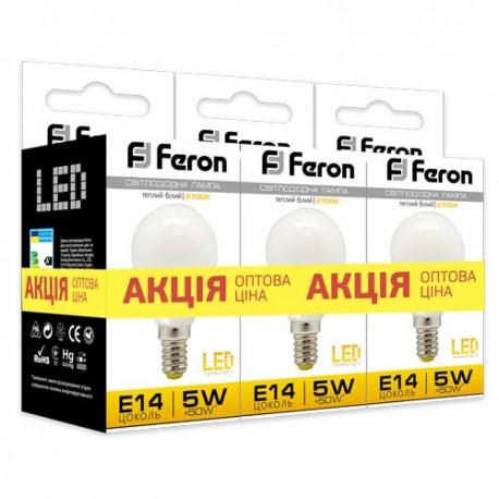 Набор LED-ламп Feron LB-95 P45 230V 5W 400Lm E14 2700K (3 штуки)