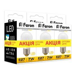 Набор LED-ламп Feron LB-95 G45 230V 7W 580Lm E27 4000K (3 штуки)