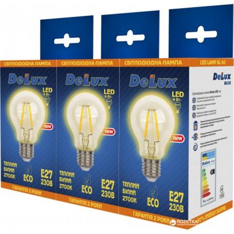 Набор светодиодных ламп Delux BL 60 4 Вт filam.2700K 220В E27 (1+1+1)