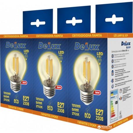 Набор светодиодных ламп Delux BL50P 4 Вт filam.2700K 220В E27 (1+1+1)