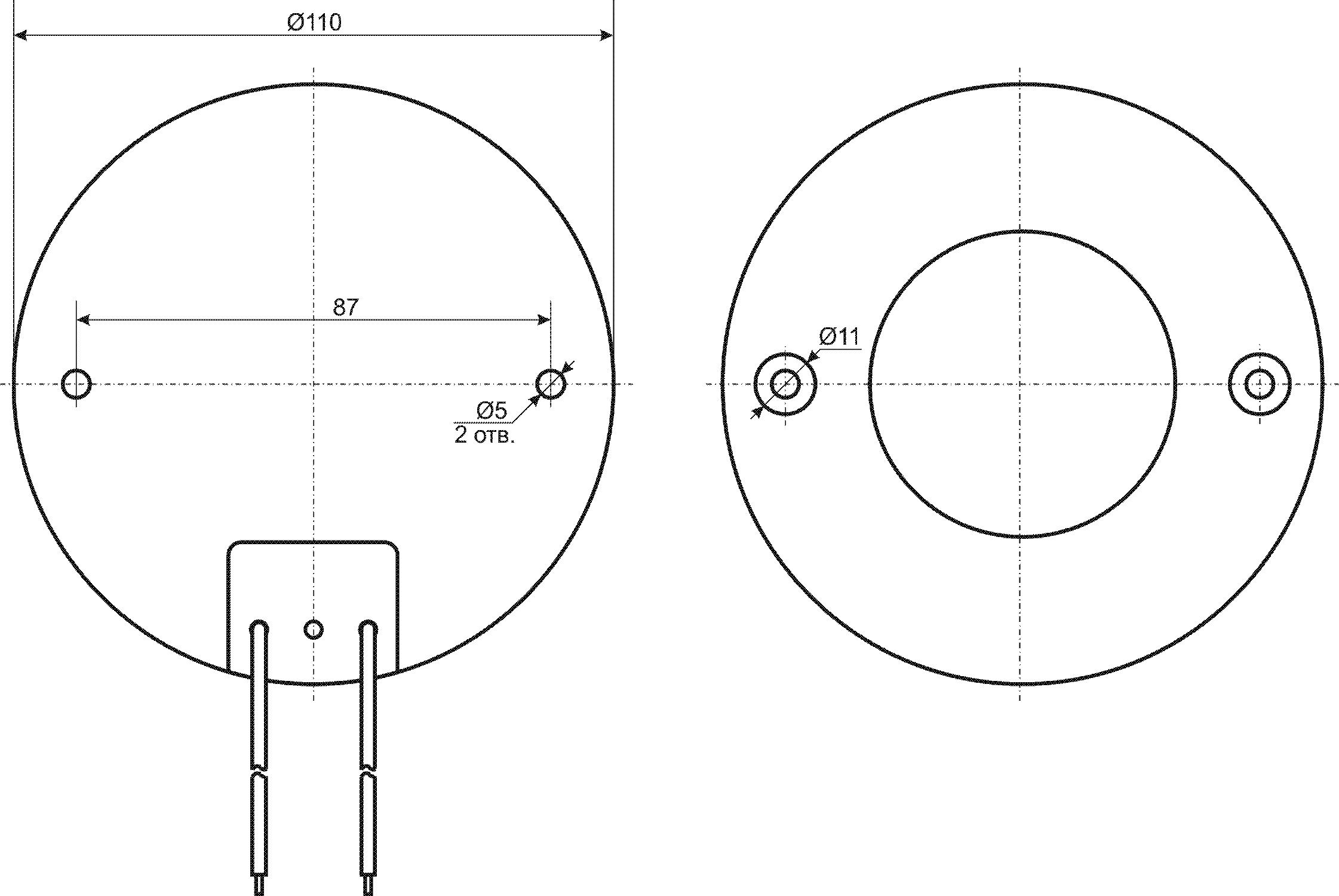 Габариты светильника Символ Д-107-Д