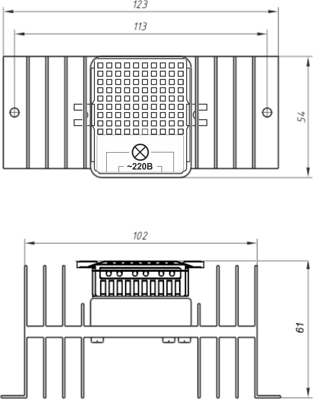 Габариты силового блока SL-1-3000