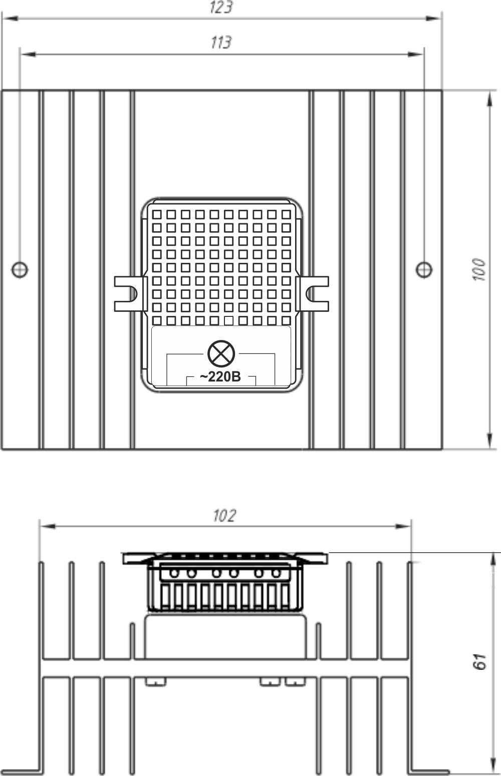 Габариты силового блока SU-1-5000