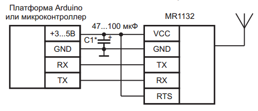 Схема подключения передатчика MR1132 серии Noolite, Ноотехника