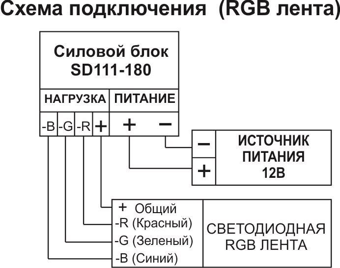 Подключение силового блока Noolite SD111-180 RGB Ноотехника