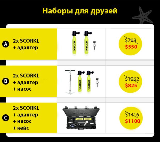 Купить мини-баллон Scorkl для дайвинга 2 set